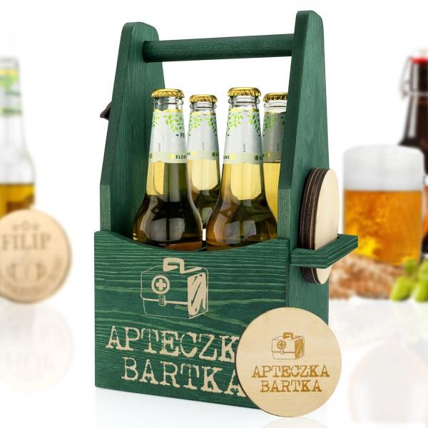 skrzynka na piwo z otwieraczem i grawerem imienia