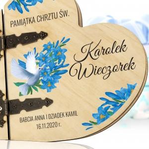album drewniany na pamiątkę chrztu z nadrukiem imienia