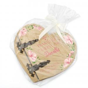 prezent na chrzest drewniany album w kształcie serca
