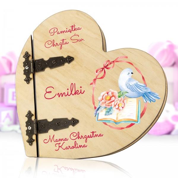 serce drewniane - album na zdjecia na pamiątkę chrztu