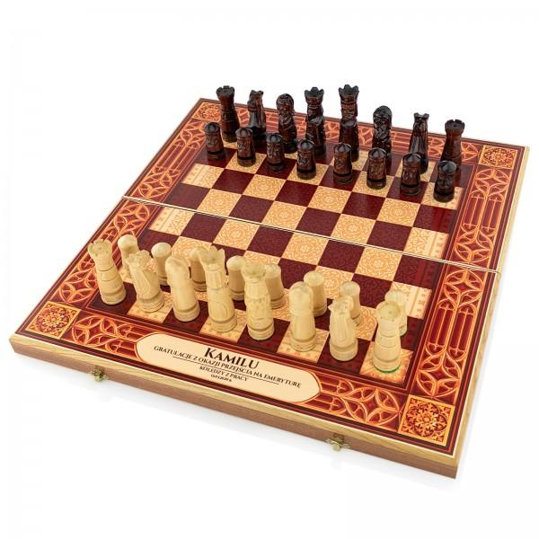 szachy z nadrukiem szachownicy i dedykacji na prezent dla emeryta