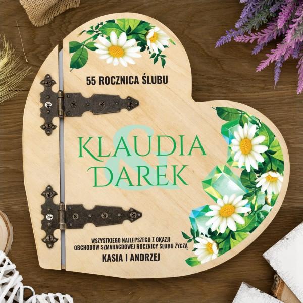 drewniany album z dedykacją na prezent na 55 rocznicę ślubu