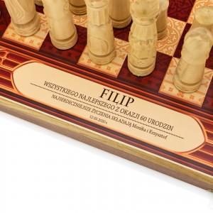 nadruk dedykacji na szachach na prezent na 60 urodziny dla niego