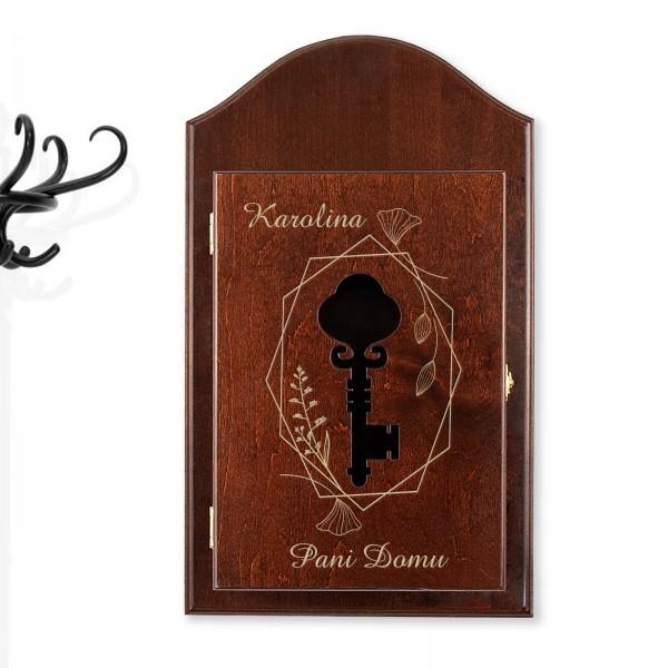 brązowa skrzynka na klucze z grawerem na prezent dla niej