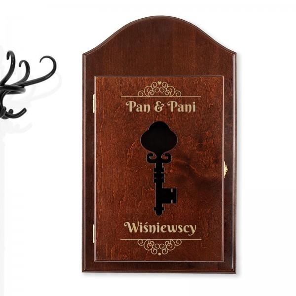 brązowa skrzynka na klucze z grawerem na prezent dla pary