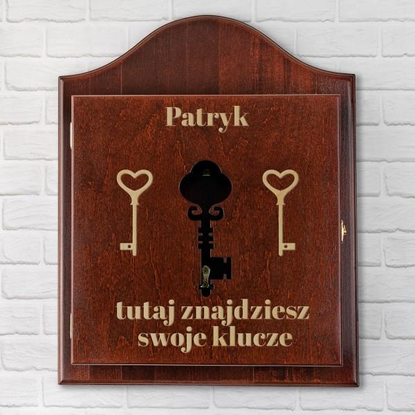 brązowa skrzynka na klucze z grawerem na prezent dla niego
