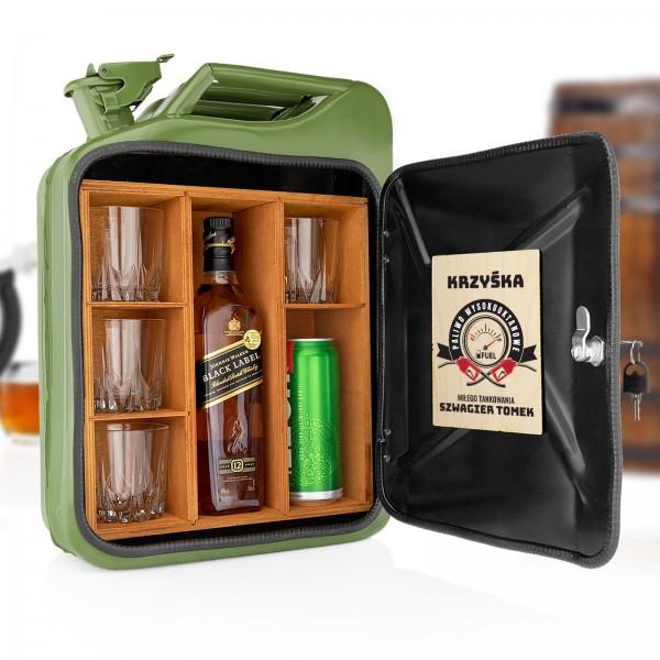 zielony kanister barek na alkohol z dedykacją dla szwagra