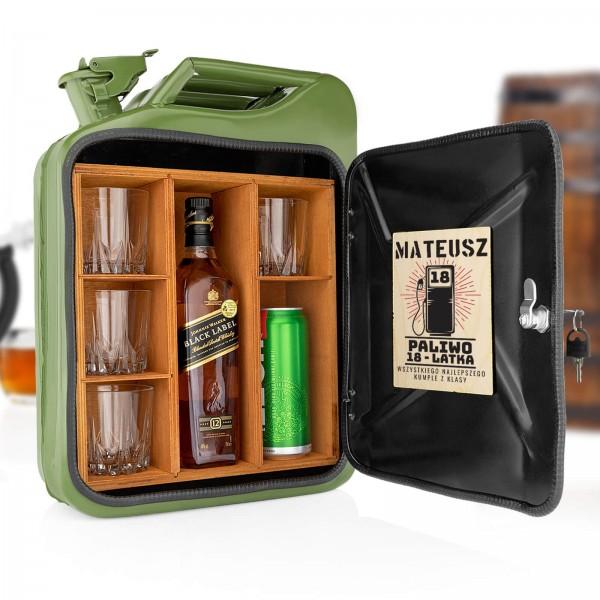 personalizowany kanister barek z półkami na szklanki i alkohol dla mężczyzny