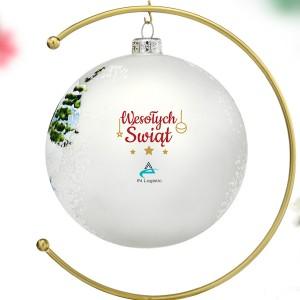 bombka szklana z logo firmy na prezent na święta