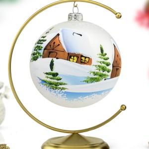 bombka malowana na stojaku na prezent świ ąteczny z personalizacją