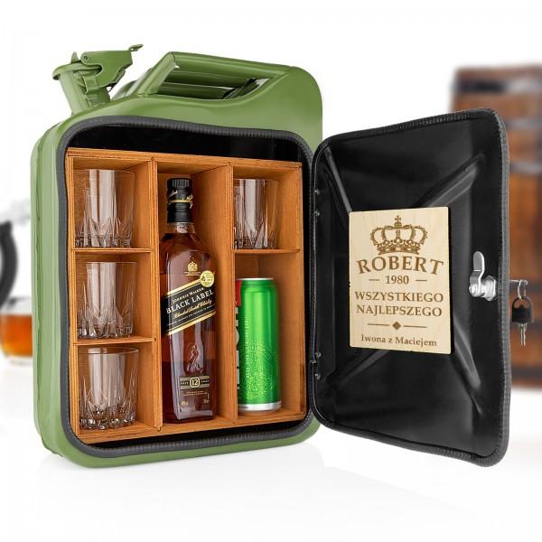 zielony kanister barek na alkohol w zestawie ze szklankami