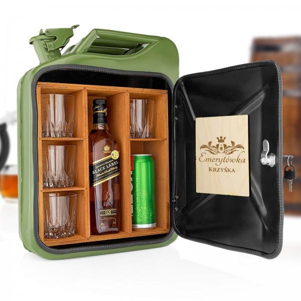 kanister barek ze szklankami do whisky na prezent dla emeryta
