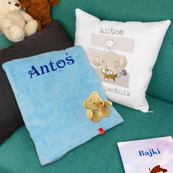 spersonalizowany zestaw z poduszką i kocem dla chłopca
