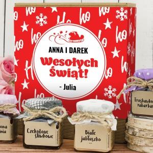 konfitury w słoiczkach wraz z pudełkiem z nadrukiem dedykacji  na prezent na święta dla pary przyjaciół