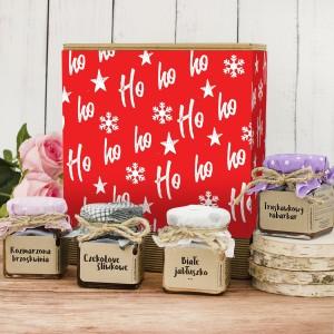 konfitury w słoiczkach wraz z pudełkiem z nadrukiem dedykacji  na prezent świąteczny dla rodziców