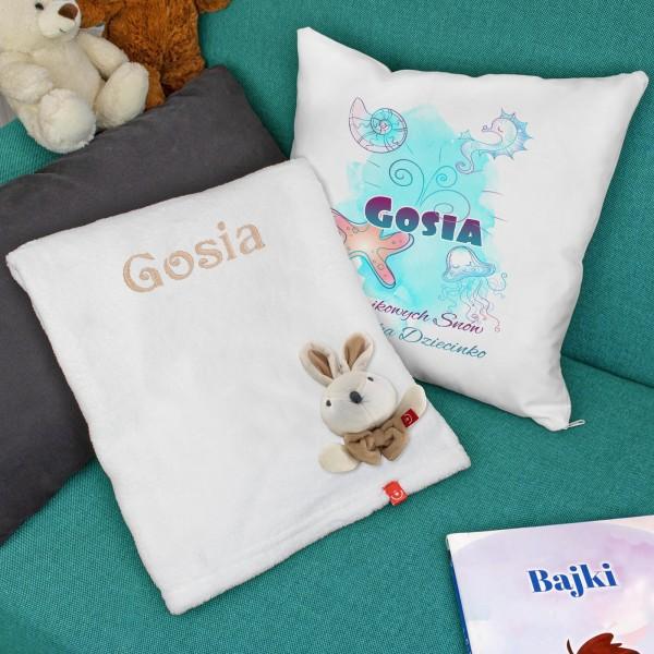 spersonalizowany zestaw prezentowy kocyk i poduszka dla dziecka