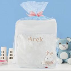 zestaw prezentowy dla dziecka z kocem i poduszką