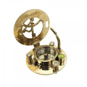 mosiężny kompas z zegarem słonecznym na prezent dla chrzesniaka