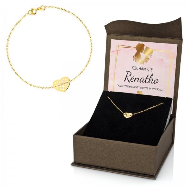 bransoletka ze złota ażurowe serduszko w pudełku z dedykacją