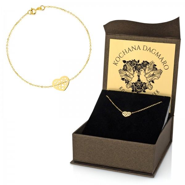 złota bransoletka 333 w pudełku z dedykacją na prezent