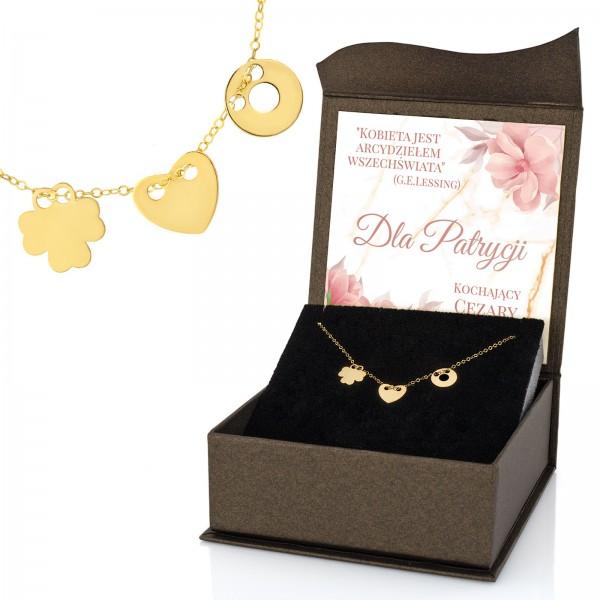 naszyjnik celebrytka złota potrójna w pudełku z dedykacją i napisem , że kobieta jest arcydziełem wszechświata