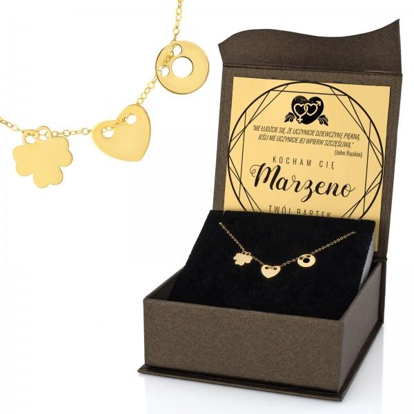 naszyjnik celebrytka 3 zawieszki ze złota w pudełku z dedykacją