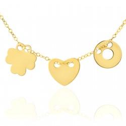 biżuteria złota, celebrytka z 3 zawieszkami