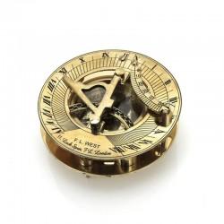 mosiężny kompas z zegarem słonecznym na prezent dla księdza