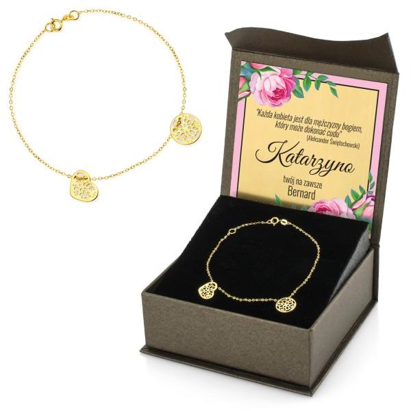 bransoletka ze złota z personalizacją na prezent dla kobiety