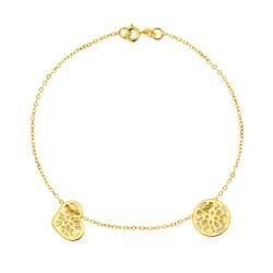 złota bransoletka celebrytka z 2 charmsami, ażurowe serduszko i kółeczko