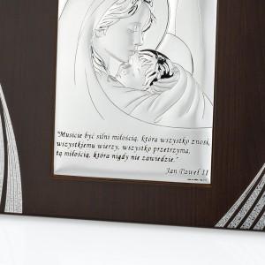 dedykacja na srebrnym obrazku ze świętą rodziną na prezent na chrzest