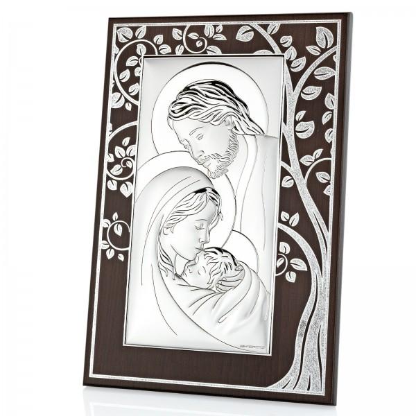 obrazek srebrny święta rodzina z grawerem dedykacji na pamiątkę chrztu