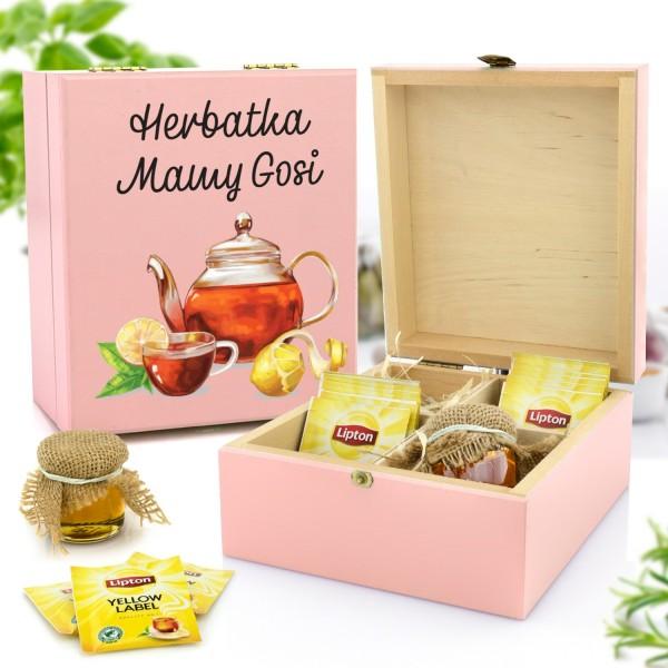 zestaw prezentowy w skrzynce z nadrukiem herbata i miody na prezent na mikołajki dla mamy