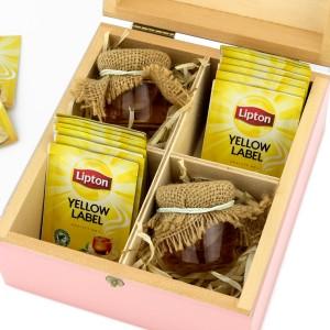 zestaw prezentowy w skrzynce 10 torebek herbat i 2 słoiczki miodu na prezent na podziękowanie dla koleżanki z pracy