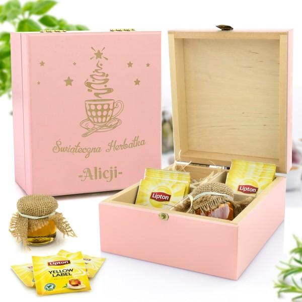 zestaw prezentowy w skrzynce z grawerem herbata i miody na prezent mikołajkowy dla niej