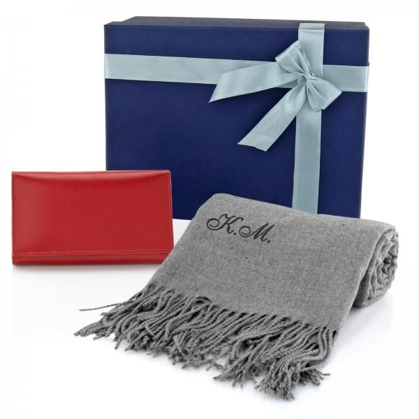 zestaw szalik z portfelem i pudełkiem prezentowym na prezent dla dziewczyny