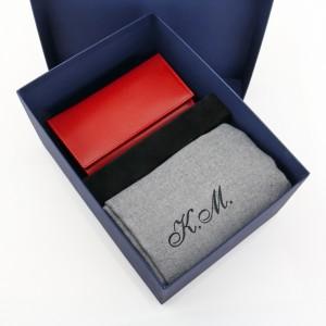 zestaw szalik z portfelem i pudełkiem prezentowym