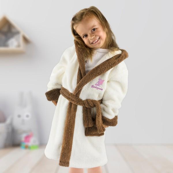 szlafrok dziecięcy z kapturem i lamówką oraz haftem imienia na prezent dla dziewczynki