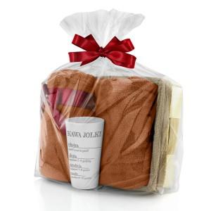 zestaw koc i kubek w łubie w opakowaniu prezentowym na upominek dla ukochanej