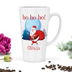 kubek latte z nadrukiem Mikołaja z zestawu na prezent na święta dla siostry