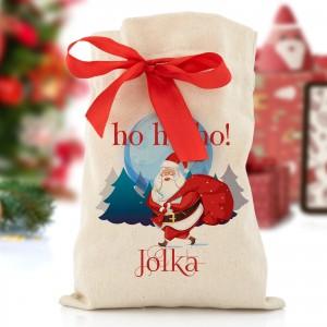 worek z nadrukiem Św. Mikołaja z zestawem prezentowym na prezent dla narzeczonej na mikołajki