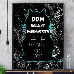 dedykowany plakat w ramce z personalizacją na prezent dla pary kochającej koty na parapetówkę