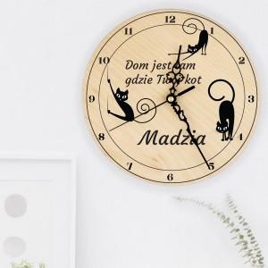 zegar ścienny z nadrukiem na prezent dla koleżanki miłośniczki kotów