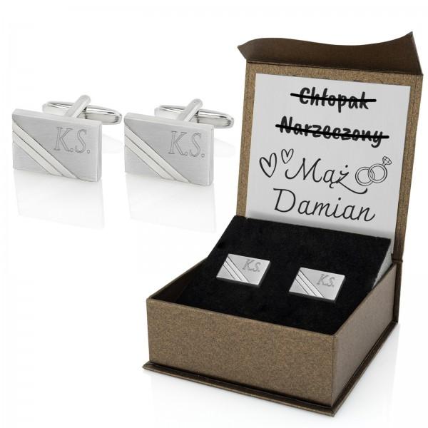 stalowe spinki do mankietów w pudełku prezentowym z grawerem na prezent dla męża