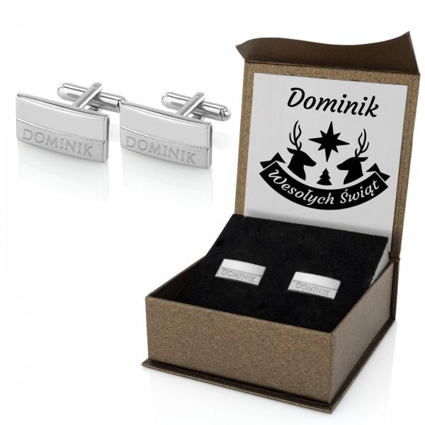 stalowe spinki do mankietów w pudełku prezentowym z grawerem na prezent dla niego na święta