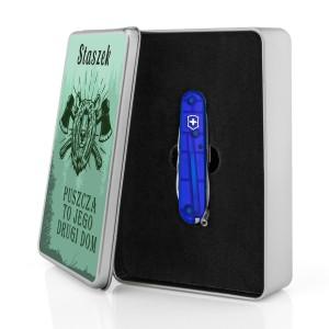 niebieski scyzoryk Victorinox na prezent dla szwagra   w puszce z nadrukiem