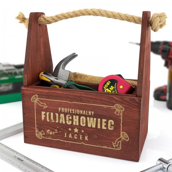 skrzynka na piwo i narzędzia  z grawerem na prezent dla niego