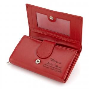 portfel czerwony damski z grawerem