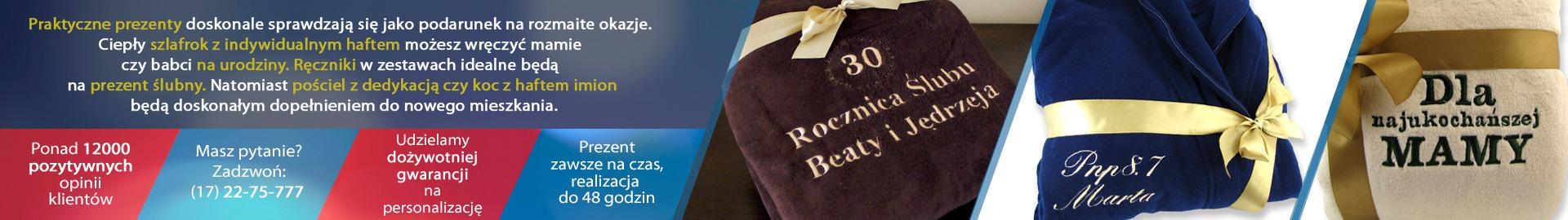 Praktyczne prezenty do wnętrza: koce, ręczniki, szlafroki z indywidualnym haftem sprawdzą się jako prezent na rozmaite okazje.